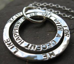 Double Hammered Circle Pendant with custom inscription . sterling silver . chain included