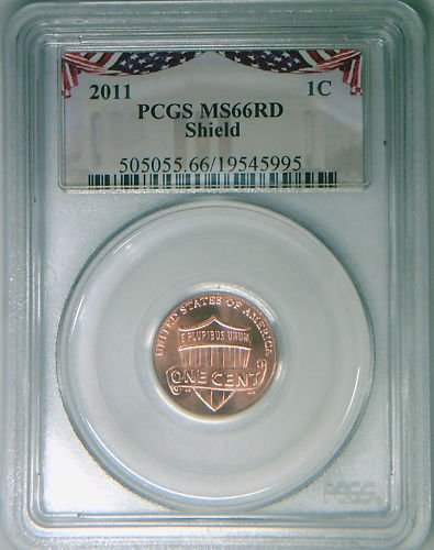 2011 PCGS MS66 RED gem Lincoln cent Shield rare insert