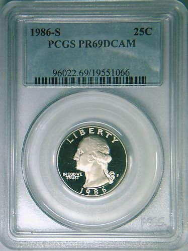 1986S Washington quarter PCGS PR69DCAM proof deep cameo