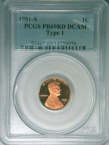1981S Ty1 PCGS PR69RDDCAM proof Lincoln cent deep cameo