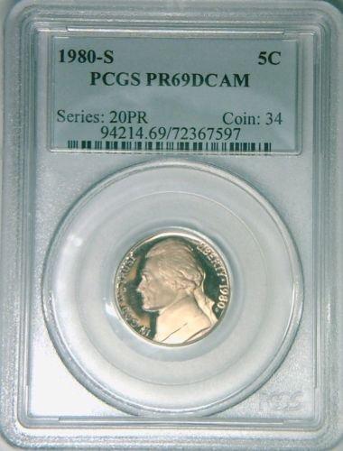 1980-S PCGS PR69DCAM Jefferson nickel 5 cents deep cameo DCAM