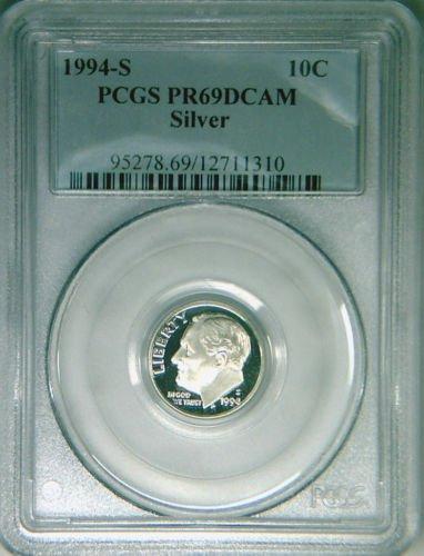 1994-S PCGS PR69DCAM SILVER proof Roosevelt dime deep cameo DCAM