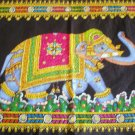Decorated Indian Elephant Wall Hanging Sequin Cotton Tapestry Ethnic India Home Decor Art