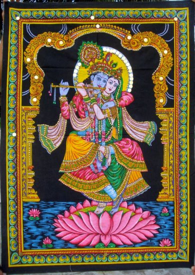 Radha Krishna on lotus Cotton Wall Hanging  Hindu Tapestry India Vintage Home Decor Art