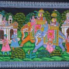 Mughal King Elephants Decoration Wall Hanging  Cotton Cloth Sequin Tapestry India Vintage Decor Art