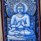 Beautiful Buddha Blue Batik Wall Hanging Decor Cotton Tapestry India Ethnic Home Decoration Art