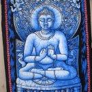 Beautiful Buddha Blue Batik Wall Hanging Buddhist Tapestry Meditation Decor Indian Decoration Art