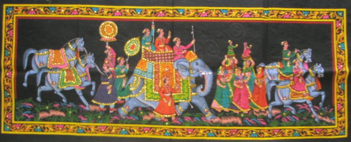 Mughal King Indian Elephant Tapestry Sequin Wall Hanging Decor