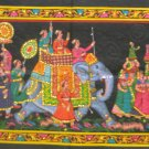 Mughal King Indian Elephant Tapestry Sequin Wall Hanging Decor  Ethnic India Home Decoration Art
