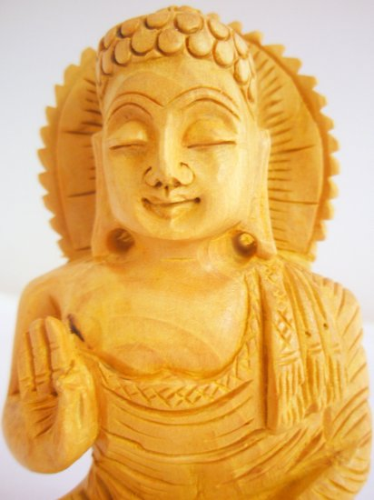 Hand carved wooden meditating buddha on lotus staute India