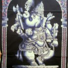 Batik Hindu Tapestry Elephant God Ganesha  Ganesh India Fabric Wall Hanging Decor Vintage Art
