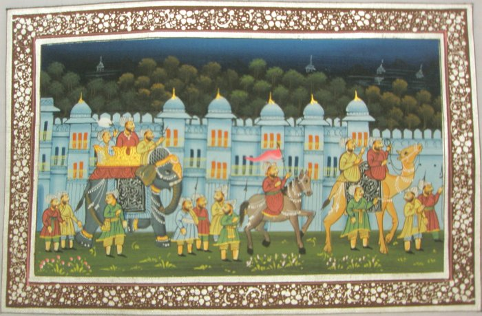 Indian Art Silk  Hand Painted Miniature Mughal Procession  Painting  India Rajasthan