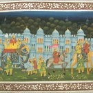 Indian Art Silk  Hand Painted Miniature Mughal Painting 'The Royal Parade'  India Rajasthan