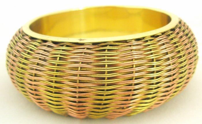 Handmade Ethnic Two Tone Indian Brass Bangle Bracelet  Vintage Jewelry Plus Size Gypsy Boho