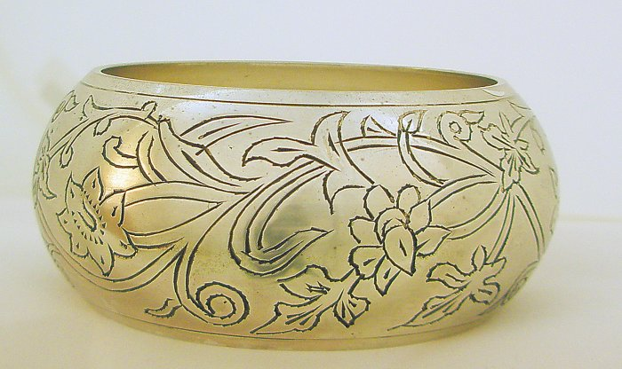 Ethnic Antique Finish Chunky Extra Wide Floral Brass Bangle Cuff  Bracelet Plus Size Jewelry