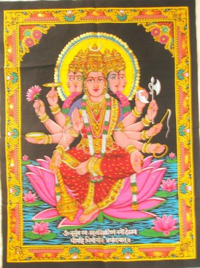Hindu Goddess Gayatri Mantra  Wall Hanging  Sequin Tapestry Ethnic Decor Art India