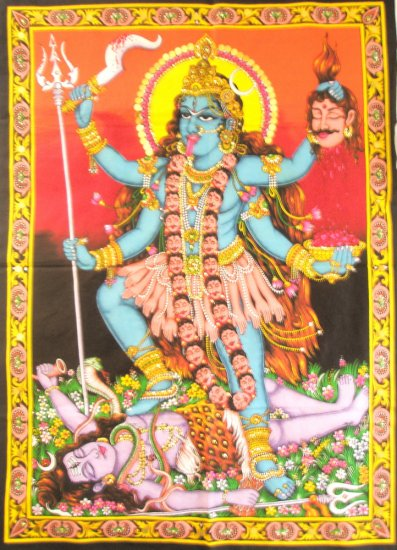 Hindu Goddess Kali Dance Shiva Wall Hanging  Large Tapestry Sequin Vintage Home Decor Art India