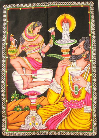 Omar Khayyam Saqi Saki Indian Sequin Wall Hanging Bohemian Tapestry India Home Decor