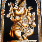 Batik Hindu Elephant God Dancing Ganesha India Wall Hanging Decor Cotton Tapestry Vintage Art