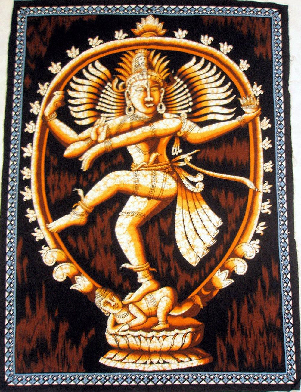Batik Dancing Shiva Nataraja Wall Hanging Decor Cotton Large Tapestry India Ethnic Vintage Art