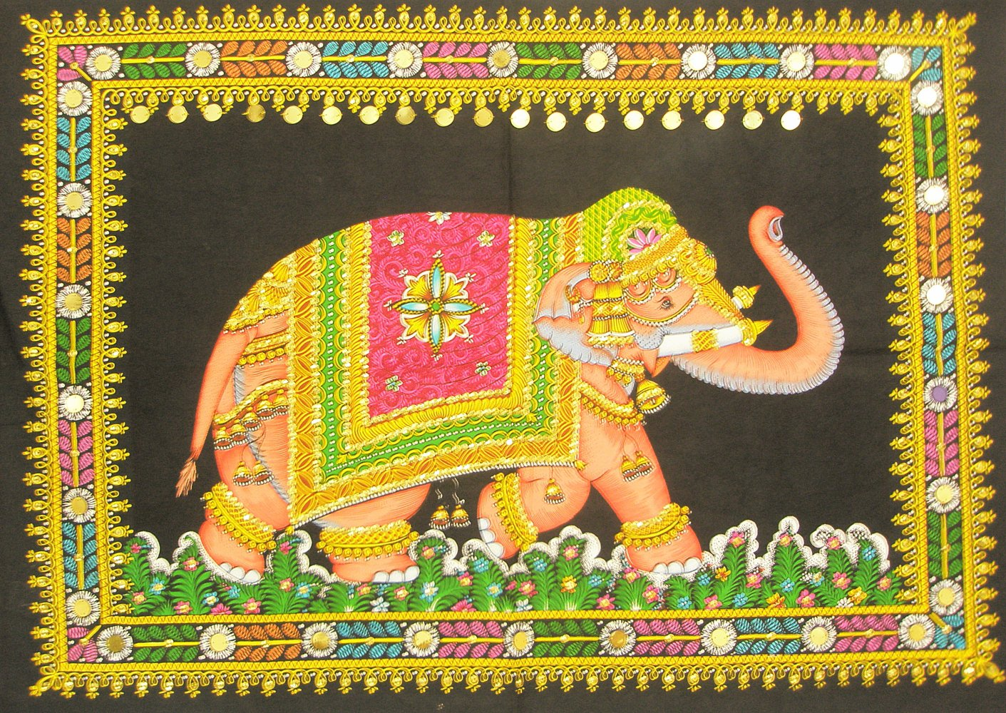 Decorated Indian Elephant Tapestry Sequin Wall Hanging Bohemian