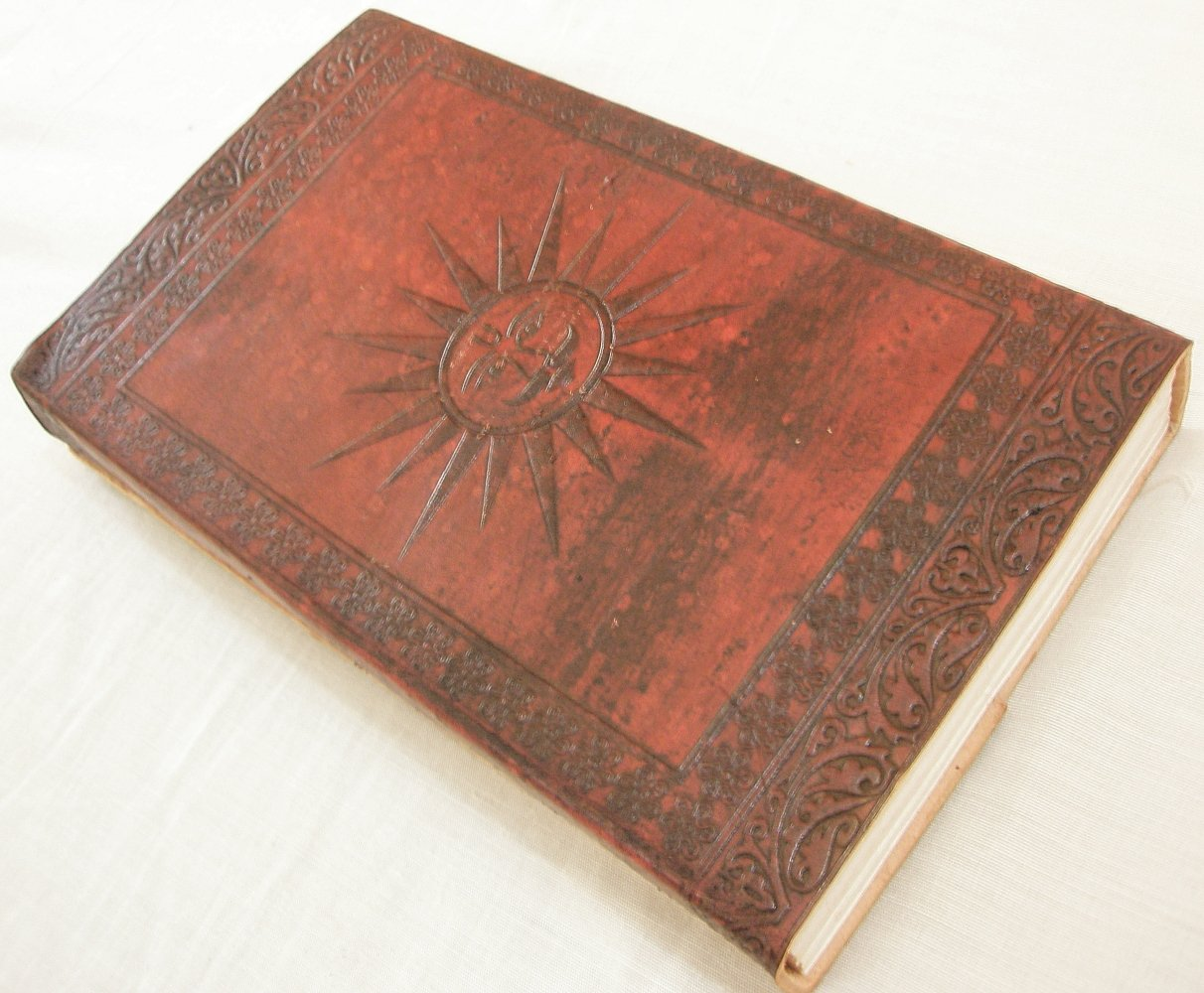 Handcrafted SUN Embossed Natural Paper Personalized Leather Journal Vintage Diary Writing Notebook