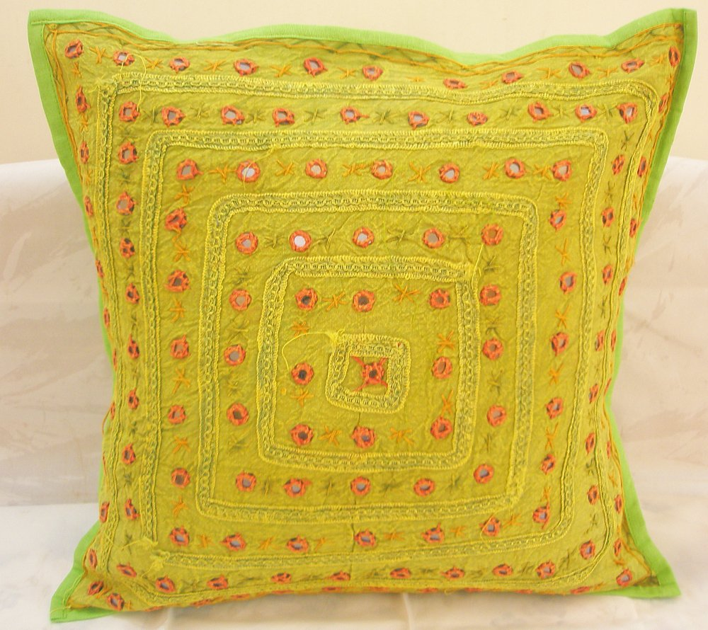 Indian Embroidered Cushion Covers Mirror Work Decorative Toss Pillows Sofa Throw Ethnic Decor