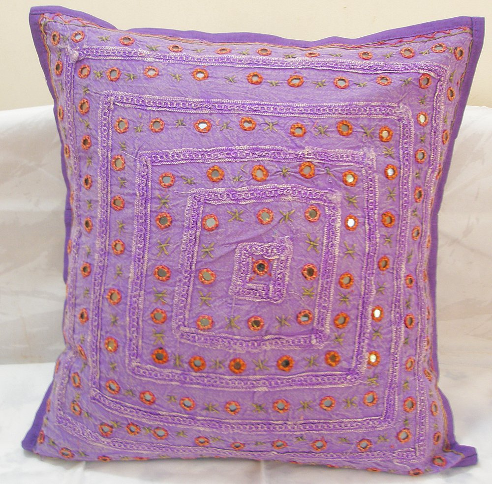Purple Decorative Indian Cushion Covers Toss Pillows Sofa Throw Ethnic Home Decor Vintage Art India