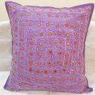 Purple Decorative Indian Cushion Covers Toss Pillows Sofa Throw Ethnic Home Decor Vintage Art India