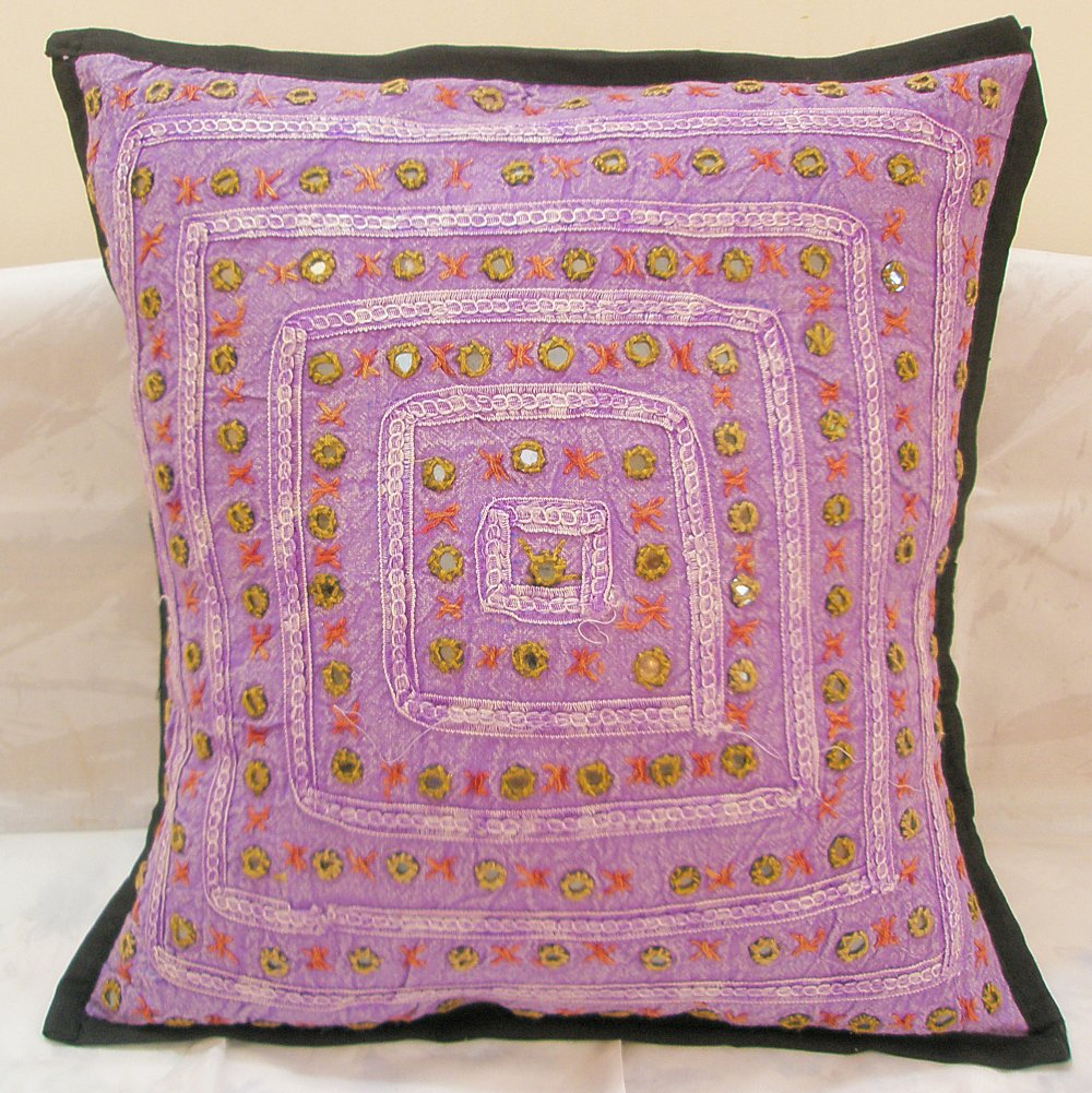 Decorative Indian Cushion Covers Embroidered Mirror Work Toss Pillow Ethnic Home Decor Art India