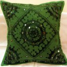 Embroidered Ethnic Indian Cushion Covers  Decorated Toss Pillows Home Decor Mirror Work India