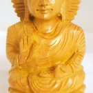 Hand carved Meditating Indian Lotus Buddha Shrine Statue India Home Decor Vintage Buddhism