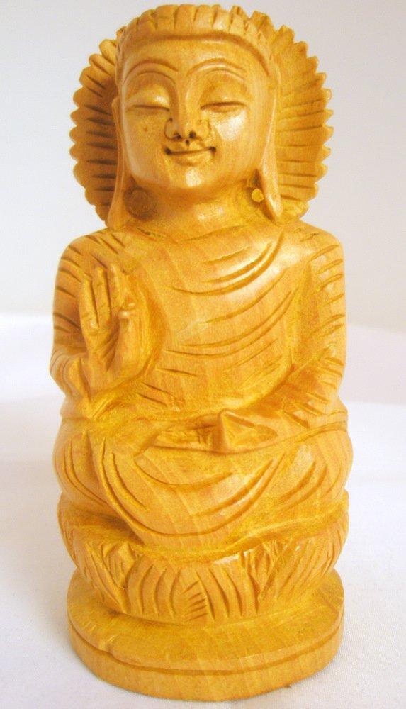 Hand carved Meditating Indian Shakyamuni Buddha Statue India Home Decor Vintage Buddhism Art