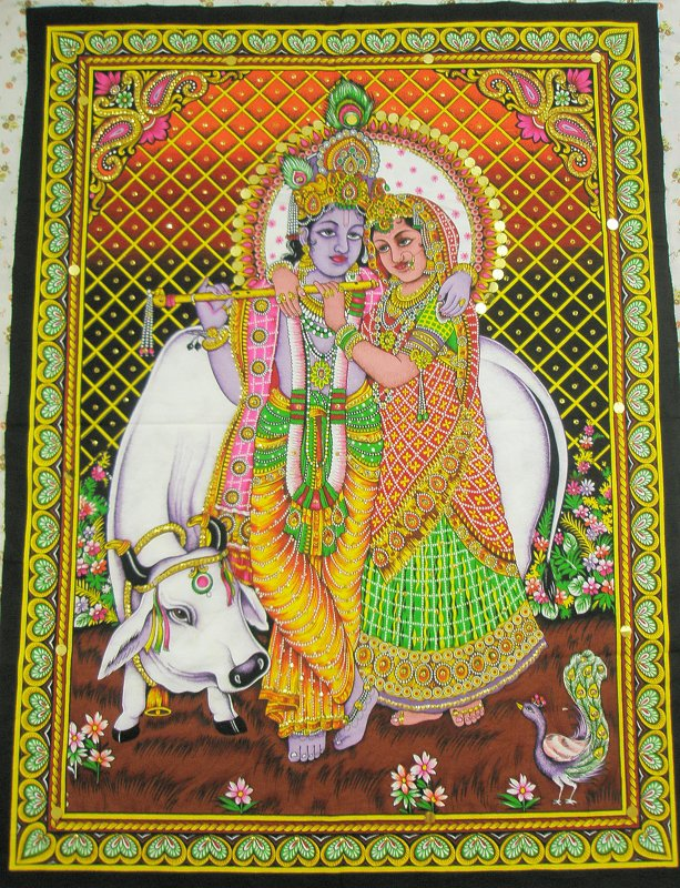 Wall Decor Radha Krishna : Hindu radha krishna wall hanging indian sequin large