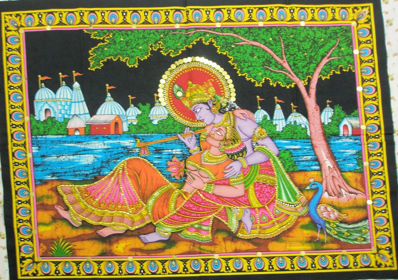 Krishna Radha Love Wall Hanging Indian Sequin Large Tapestry