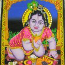 Baby Krishna Wall Hanging Indian Sequin Large Tapestry Ethnic India Home Decor Vintage Wall Art