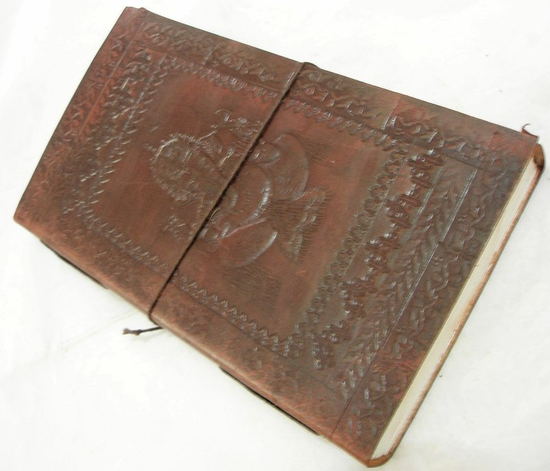 Handcrafted Hindu Elephant God Embossed Leather Journal Diary Blank Writing Notebook Sketchbook