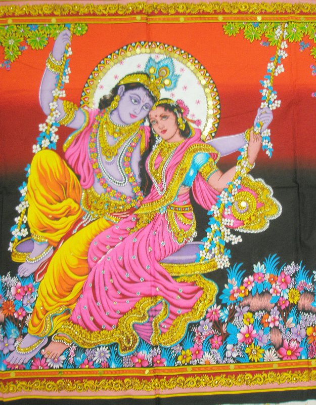 Wall Decor Radha Krishna : Hindu krishna radha huge tapestry cotton wall hanging