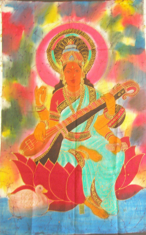 Batik Hindu Goddess Tapestry Saraswati Indian Wall Hanging Tie Dye Indian Ethnic Decor Art India