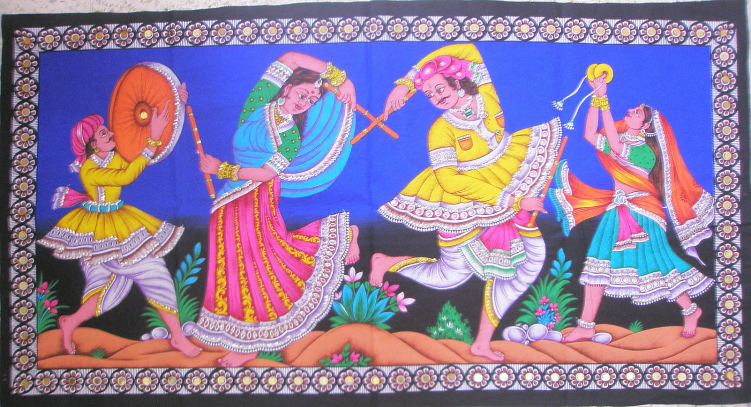 Indian Decorative Tapestry Rajasthan Folk Tribal Dance  Sequin Wall Hanging Decor Ethnic Art India