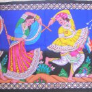 Indian Ethnic Tapestry Rajasthan Folk Tribal Dance Wall Hanging Decor Vintage India Home Decoration