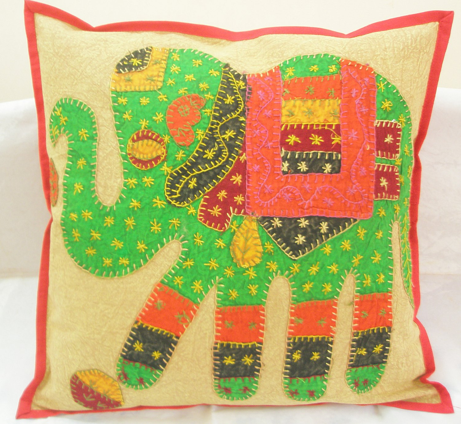 Indian Elephant Embroidered  Decorative Throw Pillow Cushion Cover Ethnic Vintage Decoration