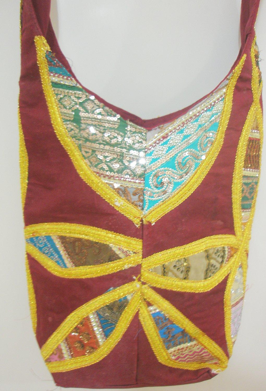 Handcrafted Cross body Shoulder Sling Bag Fabric Vintage Sequin Hippie Boho Indian Retro Gypsy