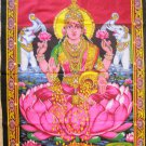 Hindu Goddess of Wealth Lakshmi Laxmi Wall Hanging Sequin Tapestry India  Ethnic Home Decor