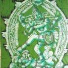 Batik Lord Shiva Shiva Dancing Nataraja  Wall Hanging Decor Cotton Tapestry India  Vintage Art