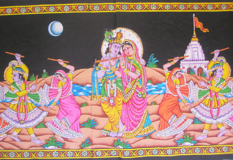 Radha Krishna Gopis Ras Leela Cotton Wall Hanging Sequin Large Tapestry India Ethnic Home Decoration