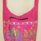 Ethnic Handmade Pink Sling Cross Body Bag Hobo Messenger Bag Boho Embroidered Retro India