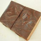 Handmade Leather Journal DOUBLE DRAGON Embossed  Blank Diary Book Wicca Paganism
