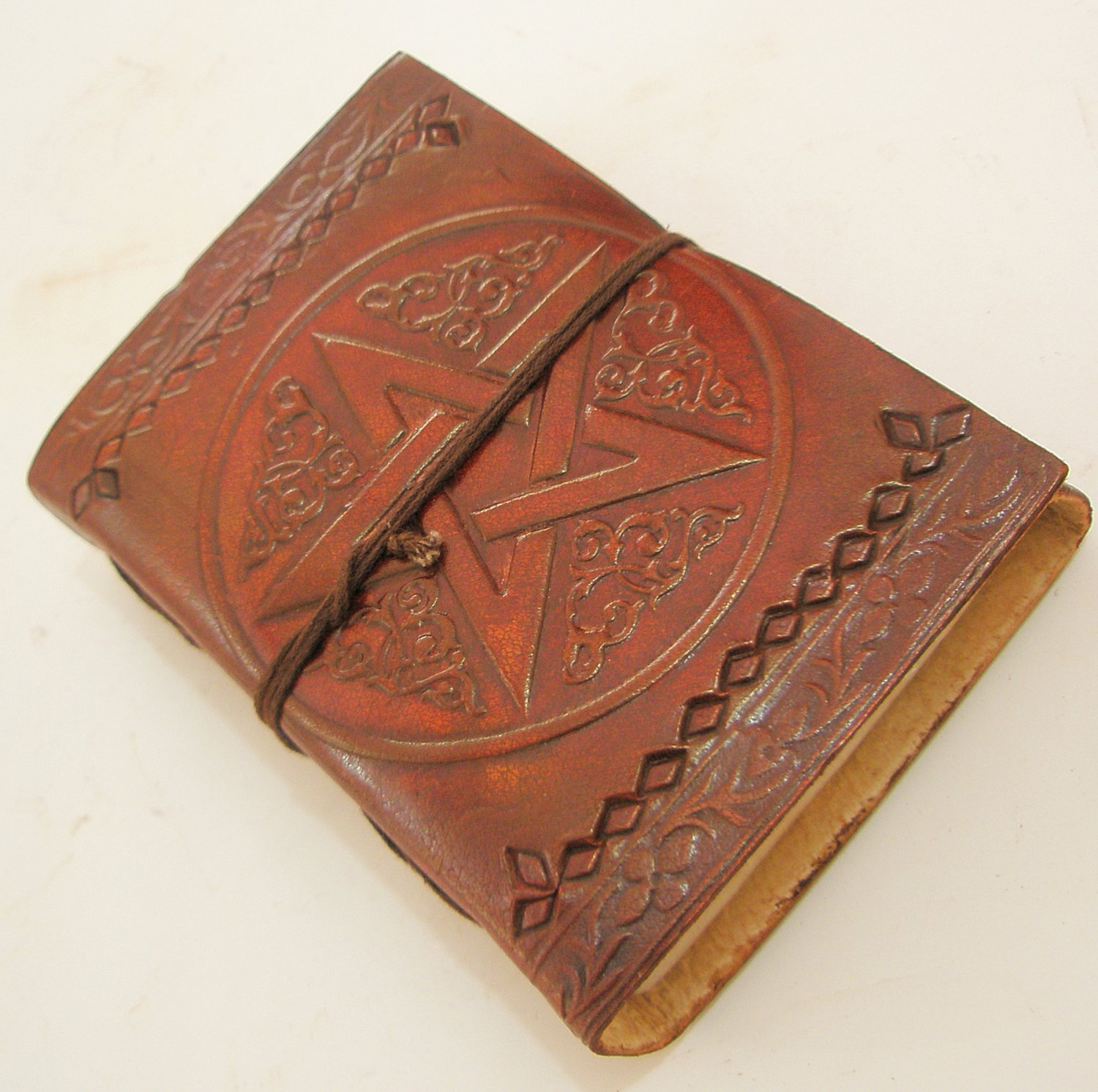 Handmade Leather Bound Journal Blank Diary Celtic Pentagram Book of Shadows Wicca Writing Notebook