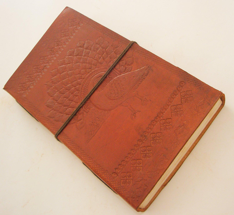 Handmade Paper Leather Journal Peacock Embossed Blank Large Diary Sketchbook Art